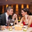 Stock Photo: Couple flirting at restaurant