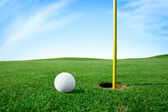 Golf ball next hole — Stock Photo