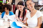 Female students in cafe — Stock Photo