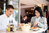 Business lunch restaurant eating meal — Foto Stock
