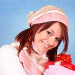 Hugging the christmas present — Stock Photo #2226667