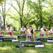 Exercise women doing push-ups — Stock Photo #24888945