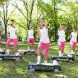 Six women doing exercises outdoor — Stock Photo #24888919