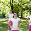 Sporty woman in park — Stock Photo