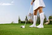 Golfer putting golf ball — Stock Photo