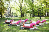 Six women exercising workout — Stock Photo