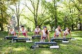Donne di esercizio facendo flessioni — Foto Stock