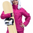 Smiling female snowboarder — Stock Photo
