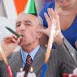 Royalty-Free Stock Photo: Happy man on his 70th birthday