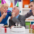 Party for celebrating 70th birthday - Stock Photo