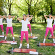 Stock Photo: Group of women doing warm up exercises