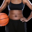 Female with basketball — Stock Photo