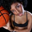 African woman with basketball — Stock Photo