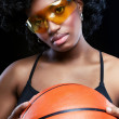 Fancy African woman with basketball — Stock Photo