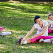 Group of women  class stretching — Stock Photo