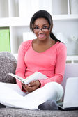 Student woman learning at home — Stock Photo