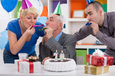Party for celebrating 70th birthday — Stock Photo