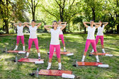 Group of women doing warm up exercises — Stock fotografie