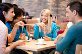 Teenagers enjoy in coffee — Stock Photo