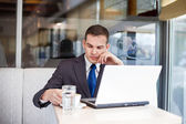 Thinking businessman on coffee break — Foto de Stock