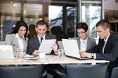 Group of business in cafe — Stock Photo