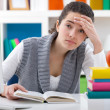 Tired student girl — Stockfoto