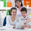 Family have fun with tablet pc — 图库照片