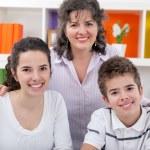 Portrait of happy mom with children — Stock Photo