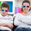 Kids watching  the 3D movie — Stock Photo