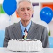 Senior man does not know how old — Stock Photo
