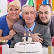 Man celebrating his 70th birthday — Stock Photo