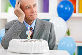 Senior man forgot how old is — Stock Photo