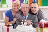 Man celebrating his 70th birthday — Foto de Stock