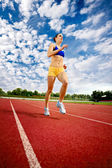Young woman exercise jogging and running — Stock Photo
