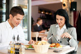Business couple on lunch — Stock Photo