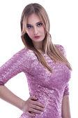 Elegante vrouw in roze jurk — Stockfoto