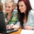 Female students using a laptop — Stock Photo