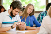 Student transcribed test by colleague — Stock Photo