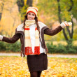 Happy autumn girl — Stock Photo
