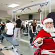 Santa Claus exercising — Stock Photo