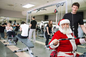 Santa Claus exercising — 图库照片