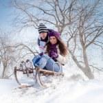 Couple sledging through — Stock Photo #32744295