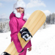 Woman with snowboard — Stock Photo #32744195