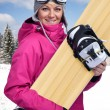 Female snowboarder — Stock Photo