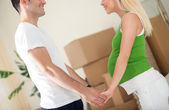 Future parents in new home — Stock Photo