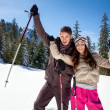 Couple in winter mountains — Stock Photo