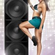 Erotic music babe — Stock Photo