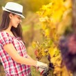 Girl in vineyard — Stock Photo