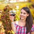 Woman with glass of wine in the vineyard. — Stock Photo