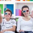Watching TV with 3D glasses — Stock fotografie #35597493